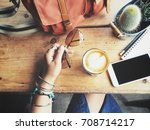 woman drinking coffee with... | Shutterstock . vector #708714217