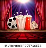 cinema background with a film... | Shutterstock .eps vector #708716839