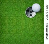 golf ball and golf hole on... | Shutterstock . vector #708717139