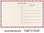 vector postcard with paper... | Shutterstock .eps vector #708717439