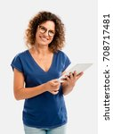 beautiful middle aged woman... | Shutterstock . vector #708717481