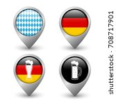 set of octoberfest map pointers ... | Shutterstock .eps vector #708717901
