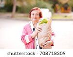 smiling senior woman 70 80 year ... | Shutterstock . vector #708718309