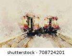 Vintage Image Of Trains On...