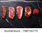 variety of raw black angus...   Shutterstock . vector #708726775