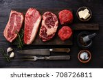 variety of raw black angus... | Shutterstock . vector #708726811