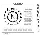 vector blind man and hospital... | Shutterstock .eps vector #708727831