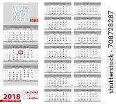 wall quarterly calendar 2018....   Shutterstock .eps vector #708728287