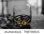 close up whiskey on ice in hand ...   Shutterstock . vector #708730021