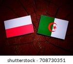 Small photo of Polish flag with Algerian flag on a tree stump isolated