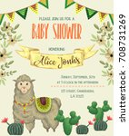 baby shower invitation with... | Shutterstock .eps vector #708731269