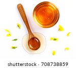 honey with jar and honey spoon... | Shutterstock . vector #708738859