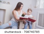 happy mother and child together ... | Shutterstock . vector #708740785