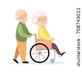 old senior couple. husband with ... | Shutterstock .eps vector #708743011