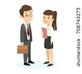 isolated managers couple on... | Shutterstock .eps vector #708743275