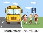School Bus With Children. Goin...