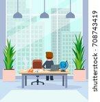 businessman relaxing standing... | Shutterstock .eps vector #708743419
