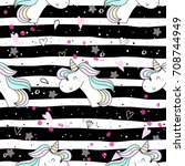 cute hand drawn unicorn vector... | Shutterstock .eps vector #708744949