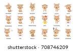 dog emotions set. funny cartoon ... | Shutterstock .eps vector #708746209