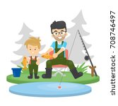 father and son fishing at the... | Shutterstock .eps vector #708746497