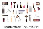 make up objects set. cosmetics... | Shutterstock .eps vector #708746644