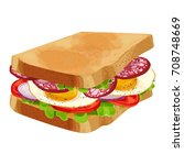 toasted sandwich with green... | Shutterstock .eps vector #708748669