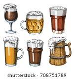 beer glass  mug or bottle of... | Shutterstock .eps vector #708751789