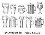beer glass  mug or bottle of... | Shutterstock .eps vector #708752131