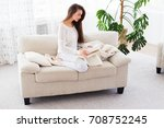 lazy morning. attractive young...   Shutterstock . vector #708752245