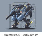 military exoskeleton controlled ... | Shutterstock .eps vector #708752419