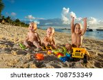 babies play with toys on the... | Shutterstock . vector #708753349