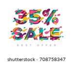 paper cut 35 percent off. 35 ... | Shutterstock .eps vector #708758347