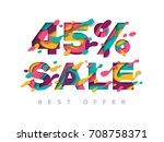 paper cut 45 percent off. 45 ...   Shutterstock .eps vector #708758371