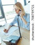 pretty businesswoman making... | Shutterstock . vector #708759721