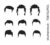 hipster vector set  hair and... | Shutterstock .eps vector #708762901