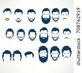 hipster vector set  hair and... | Shutterstock .eps vector #708762919