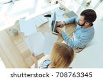 top view of office workers... | Shutterstock . vector #708763345