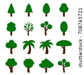 vector of tree icon set | Shutterstock .eps vector #708765721