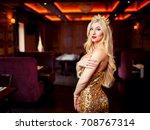 glamorous blonde in golden... | Shutterstock . vector #708767314