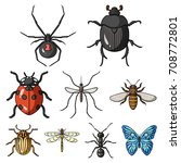 insects set icons in cartoon... | Shutterstock .eps vector #708772801