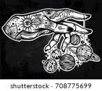 flash astronomy. inked human... | Shutterstock .eps vector #708775699