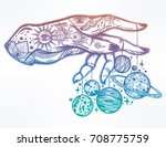 flash astronomy. inked human... | Shutterstock .eps vector #708775759