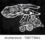 flash astronomy. inked human... | Shutterstock .eps vector #708775861