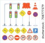 set of traffic sign equipment ... | Shutterstock .eps vector #708777379