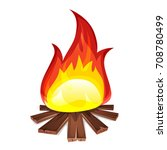 bonfire with wood burning ... | Shutterstock .eps vector #708780499