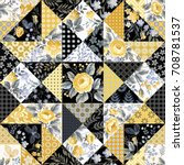 seamless floral patchwork... | Shutterstock .eps vector #708781537