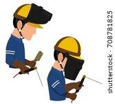 set of welder with personal... | Shutterstock .eps vector #708781825