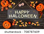 Happy Halloween Black Sign Wit...