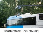 electric bus at a stop is... | Shutterstock . vector #708787804