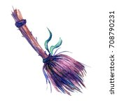cute watercolor witches broom... | Shutterstock . vector #708790231